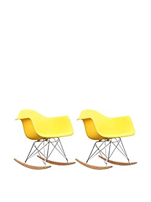 Manhattan Living Set of 2 Rocker Arm Chairs, Yellow