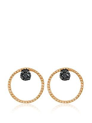 Divas Diamond Pendientes Black Diamond Circle Dorado