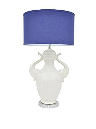 Three Hands Elephant Ceramic Lamp, White/Blue