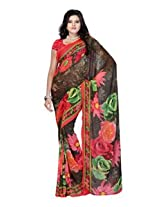Fabdeal Georgette Orange Printed Saree - RBCSR9129ANH