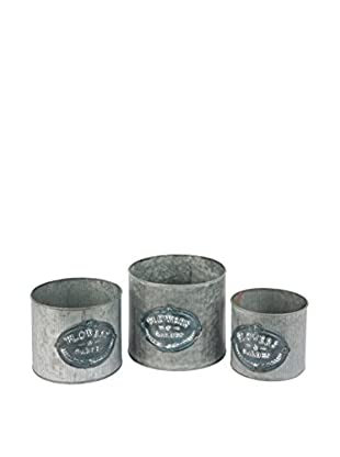 Skalny Set Of 3 Galvanized Planters With Flower Emblem, Grey