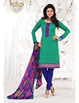 Saara Green And Blue Embroidered Dress Material - 148D6008