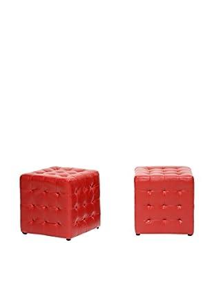 Baxton Studio Set of 2 Siskal Modern Cube Ottomans, Red