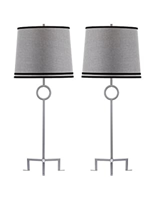 Safavieh Set of 2 Shotwell Table Lamps, White/Grey