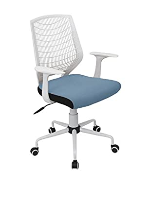 LumiSource Network Office Chair, White/Smoked Blue