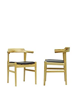 Baxton Studio Set of 2 Lausch Dining Chairs, Natural