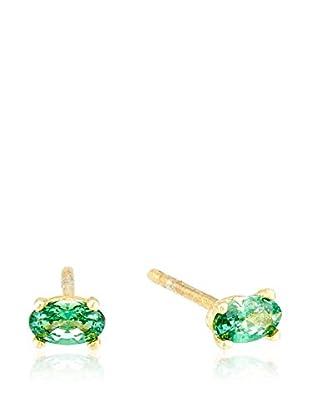 Cordoba Jewels Pendientes Oval Esmeralda plata de ley 925 milésimas bañada en oro / Dorado