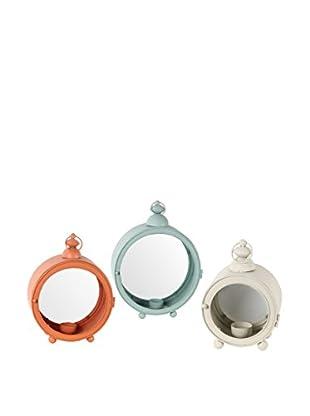 Privilege International Set of 3 Metal Lanterns, Orange/Blue/Cream