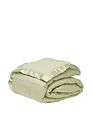 Mélange Home Down Alternative Blanket with a Satin Border, Light Green