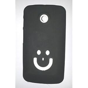 Moto E Smile Silicone Silicon Jelly Soft Back Case Cover Black