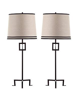 Safavieh Set of 2 Hanover Table Lamps, Bronze/Natural