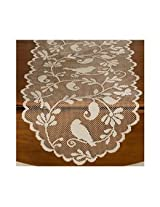 Heritage Lace Bird Patterned White Table Runner