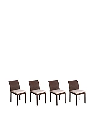 Atlantic Set of 4 Liberty Stackable Chairs, Brown