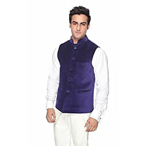 Platinum Studio NJ 713 BU Nehru Jacket - Blue