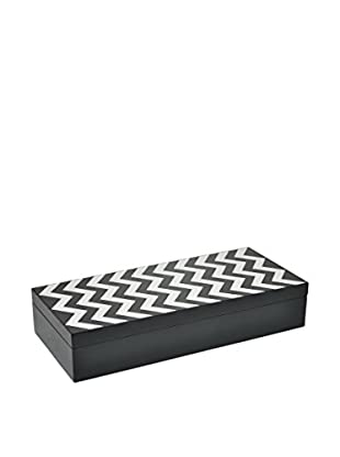 Three Hands Zig Zag Wooden Box, Black/White