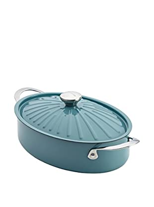 Rachael Ray 5-Qt. Cucina Oven-To-Table Hard Enamel Nonstick Covered Oval Sauteuse, Agave Blue