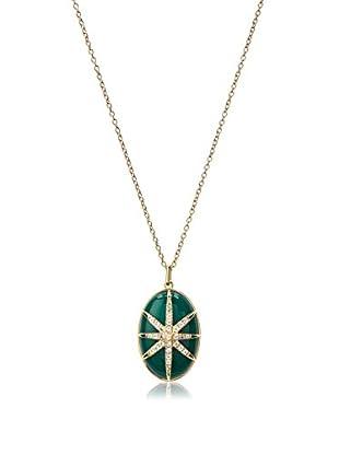 Elizabeth & James Green Agate & White Topaz Northern Star Cabochon Pendant Necklace
