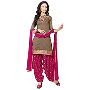 Unstitched Brown Cotton Top With Santoon Bottom & Chiffon Dupatta Embroidery With Print Work Punjabi Patiala Salwar Suit