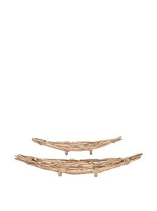 Set of 2 Driftwood Canoe Bowls