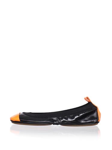 Yosi Samra Women's Patent Two-Tone Ballet Flat (Black/orange)