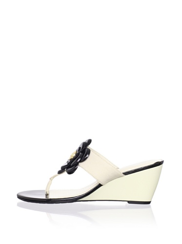 Rockport Women's Nicoleen Jewel Flower Wedge Sandal (Cream/Black)
