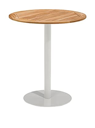 Oxford Garden Travira Round Bar Table, Powder Coated Aluminum/Teak