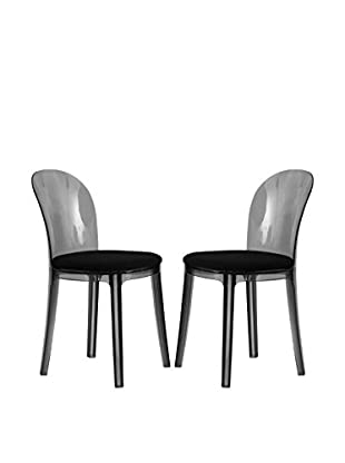 LeisureMod Set of 2 Goshen Plastic Dining Chairs, Transparent Black