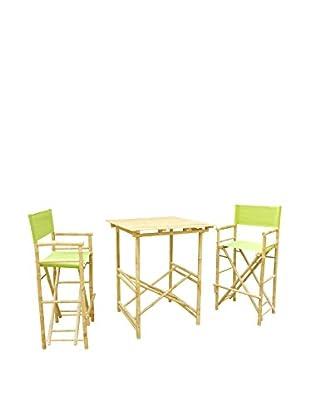 ZEW, Inc. High Table & Director Chair Set, Green