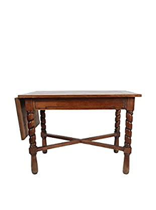 Belgium Drop Leaf Oak Library Table, Brown