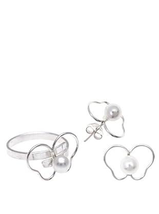 Silver One Conjunto Anillo Y Pendientes Mariposa Perla