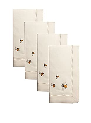 Henry Handwork Set of 4 Bees Embroidered Napkins, Ivory