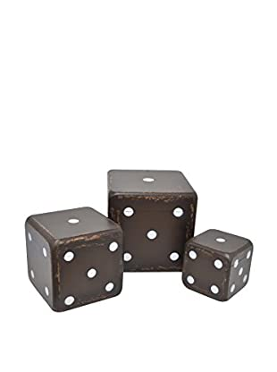 Three Hands Set of 3 Black Wood Dice Boxes