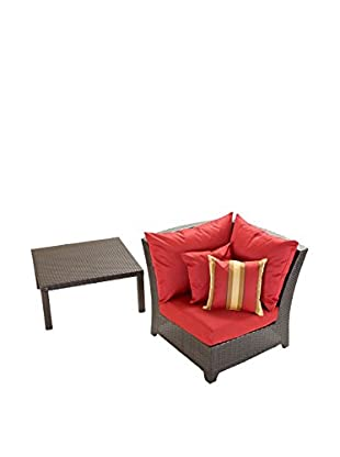 RST Brands Deco Corner Chair & Table Set, Red