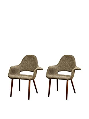 Baxton Studio Set of 2 Forza Twill Mid-Century Accent Chairs, Tan