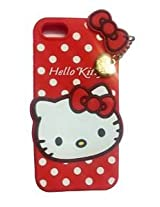AE Cute Hello Kitty Silicone With Pendant Back Case Cover For Iphone 6/6S_RED