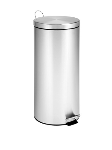 Honey-Can-Do Round Stainless Steel Step Trash Can with Liner, Chrome, 30-L/8-Gallon