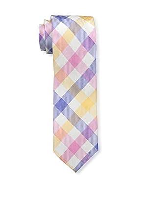 Bruno Piattelli Men's Plaid Silk Tie, Red Gold