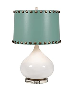 Abelie Table Lamp, White/Turquoise