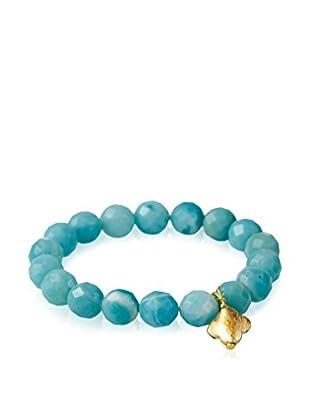 Liv Oliver 18K Gold-Plated Amazonite Charm Gemstone Bracelet