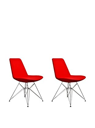 Aeon Furniture Paris 3 Side Chair, Set of 2, Red
