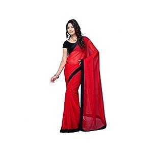 Fancy Red Plain Chiffon Saree