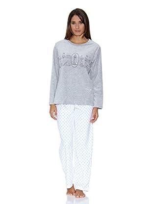 Muslher Pijama Señora Con Cuello Redondo Estampado  Cocina Y Pantalon Estrella (Gris)