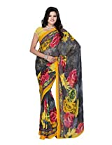 Fabdeal Georgette Yellow Printed Saree - RBDSR9129BNH