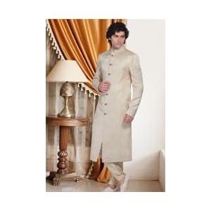 Utsav fashion MMD56 Cream Zari Brocade Sherwani