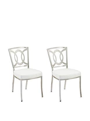 Armen Living Drake Set of 2 Modern Dining Chairs, White
