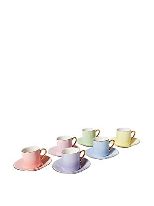 Classic Coffee & Tea Set of 6 Solid Espresso Cups & Saucers, Assorted, 2.5-Oz.