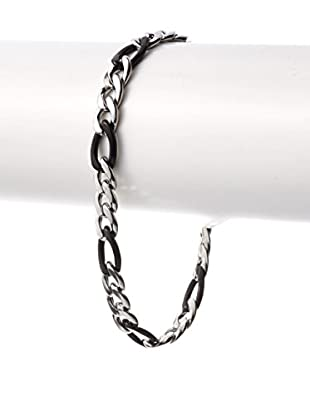 STEELTIME Black Rubber & Stainless Steel Chain Bracelet