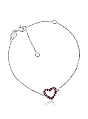 TerraFina 1/4 Cttw Created Ruby Heart Bracelet Set In Sterling Silver and Rhodium