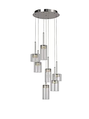 Bel Air Lighting LED Spot 7-Light Spiral-Drop-Pendant, Polished Chrome