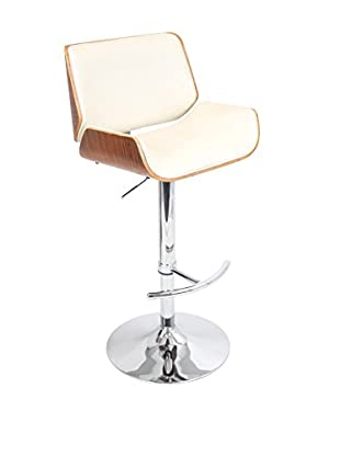 LumiSource Santi Bar Stool, Walnut/Cream